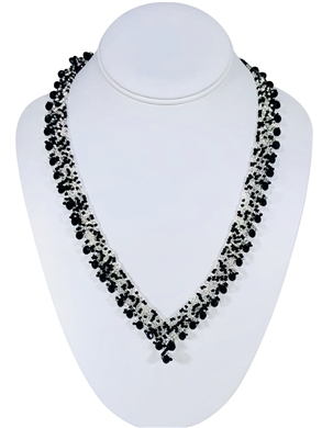Necklace - Thin Lace Crystals - Silver/Black Confetti