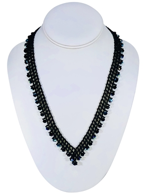 Necklace - Thin Lace Crystals - Black
