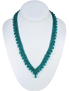 Necklace - Thin Lace Crystals - Turquiose