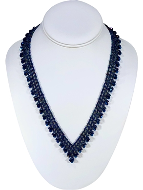 Necklace - Thin Lace Crystals - Peacock Blue
