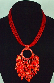 Boutique: Raiz Necklace - Coral Red