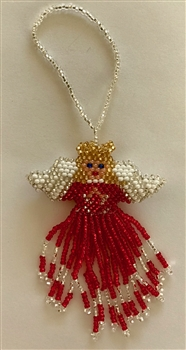 Ornament - Large Angel - Red w/ Blonde Hair