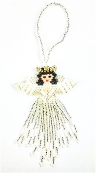 Ornament - Large Angel - White/Silver with Black Hair