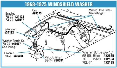 1975 Corvette For Sale >> 34123 - 70-72 Washer Bottle Extension Bracket.