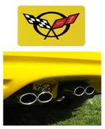 1-44843 Corvette Exhaust Plate - Mill Yellow With C5 Logo 2000-2001-2002-2003-2004