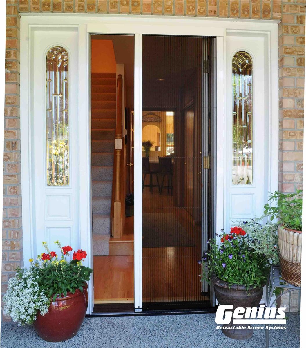 Genius sheer advance pleated re sizable retractable door for Folding screen door