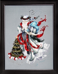 MD100  - Winter White Santa Chart with Crystal Charm