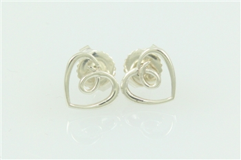 silver heart earrings, heart earrings