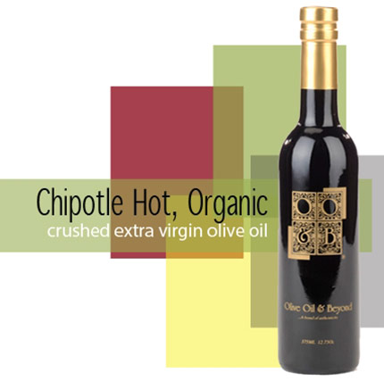 Bottle of Crushed Chipotle, Organic Extra Virgin Olive Oil