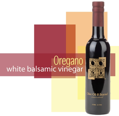Bottle of Oregano White Balsamic Vinegar