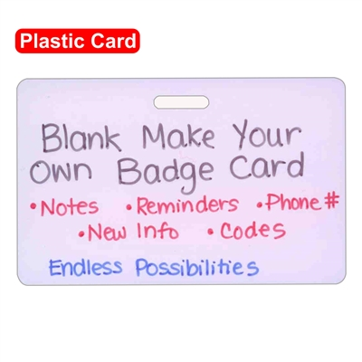 Blank Plastic Make Your Own Horizontal Badge Card