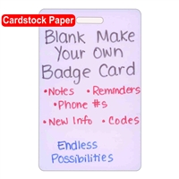 Blank Cardstock Make Your Own Vertical Badge Card 20pk