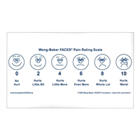 "Wong-Baker FACES® Pain Rating Scale Sticker 3"" by 5"""