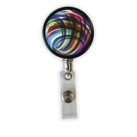 Colorful Swirls Heavy Duty Steel Cord Badge Reel