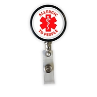 Allergic To People Heavy Duty Steel Cord Badge Reel