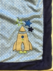 Rocket Ship Plush Baby Blanket