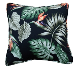 Black Birds of Paradise Throw Pillow Cover