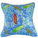 Blue Surfboard Pillow