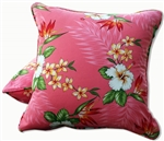 Coral Birds of Paradise Throw Pillow