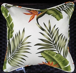 Cream Birds of Paradise Throw Pillow