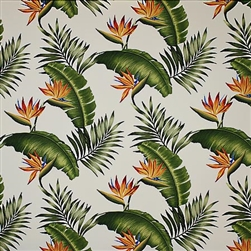 Cream Birds of Paradise Fabric Bed Skirt