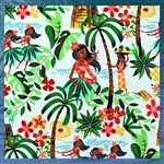 White Hula Girl Fabric