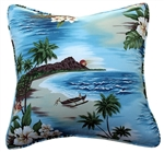 Sky Blue Birds of Paradise Throw Pillow