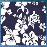 Navy Hibiscus Throw Pillow