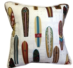 White Surfboards Throw Pillow