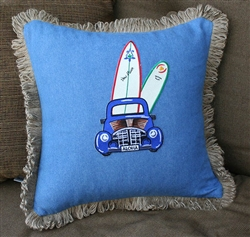 Woody Car Denim Pillow