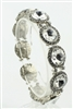 Large Crystal Encrusted Filigree Bracelet B1419