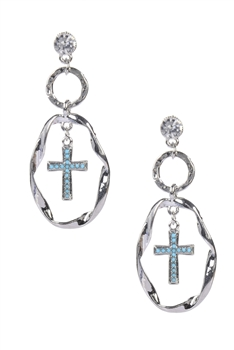 Cross Dangle Pendant Oval Style Earrings E1597