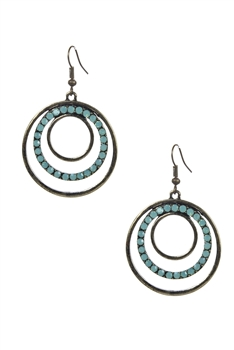 Rhinestone Dotted Disk Outline Earrings E1616
