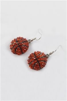 Crystal Accent Basketball Drop Earrings E1827