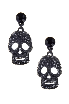 Rhinestone Accent Skull Drop Earrings E1891