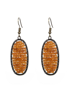 Delicate Women Oval Crystal Beads Drop Earrings E2069