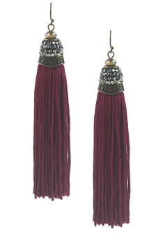 New Design Long Cotton Tassel Earrings E2070