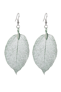 Fashion Real Natural Filigree Leaf Shaped Earrings E2087