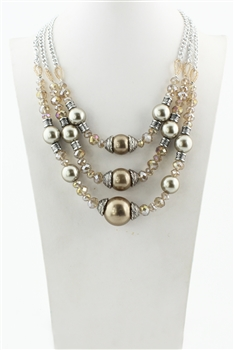 Three-layer Pearl Crystal Necklaces N1513