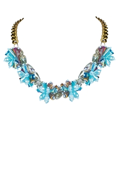 Blue Crystal Flower Collar Necklaces N2137