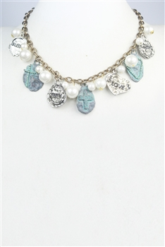 Turquoise Pearl Metal  Necklace  N2317