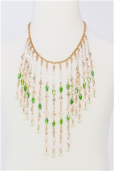 Multi-layer Long Crystal Tassel Necklace N2359