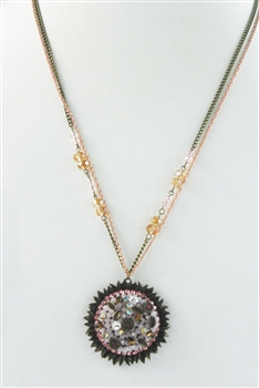 Crystal Bead Pendant Necklace N2372
