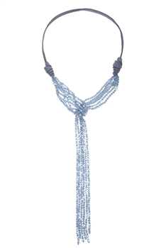 Crystal Bead Leatherette Long Tassel Necklaces N2534