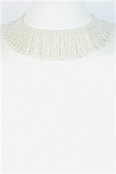 White Pearl Choker Necklaces N2745