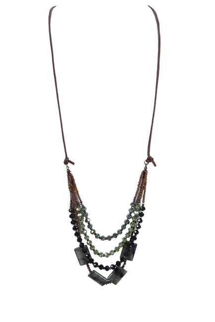 Bohemian Green Crystal Leather Stone Necklaces N2755