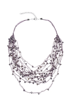Multi-layered Rope Chain Crystal Glass Beaded Necklaces N2940
