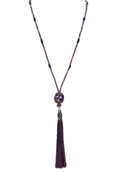Crystal Beads Tassel Long Chain Pendant Necklaces N2953