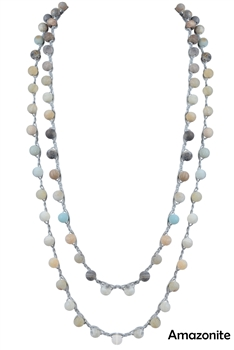 Retro Natural Stone Beads Long Necklace N3028