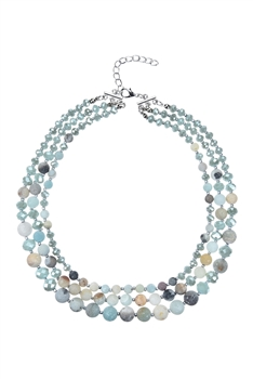 Women Fashion Stone Beads Short Necklaces N3033